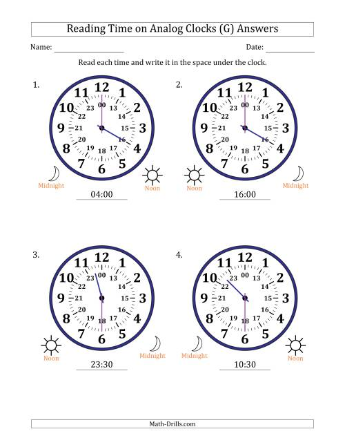 The Reading Time on 24 Hour Analog Clocks in Half Hour Intervals (Large Clocks) (G) Math Worksheet Page 2