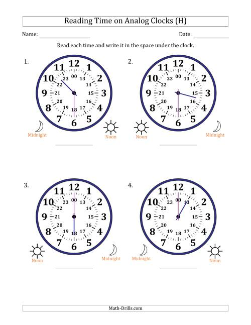 The Reading Time on 24 Hour Analog Clocks in Half Hour Intervals (Large Clocks) (H) Math Worksheet