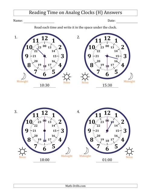 The Reading Time on 24 Hour Analog Clocks in Half Hour Intervals (Large Clocks) (H) Math Worksheet Page 2