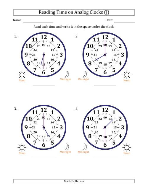 The Reading Time on 24 Hour Analog Clocks in Half Hour Intervals (Large Clocks) (J) Math Worksheet