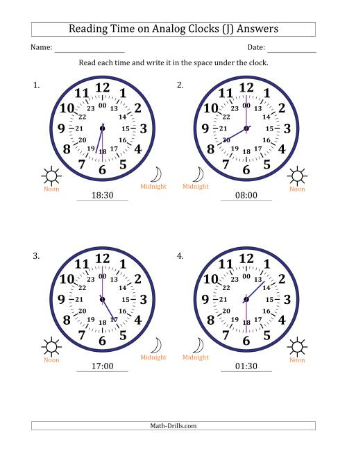 The Reading Time on 24 Hour Analog Clocks in Half Hour Intervals (Large Clocks) (J) Math Worksheet Page 2