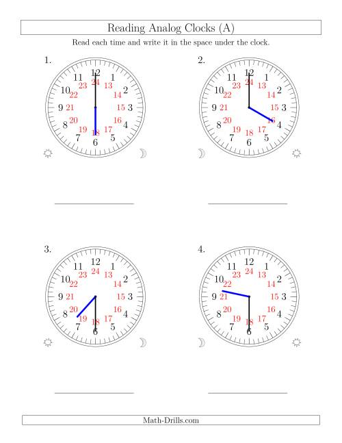 The Reading Time on 24 Hour Analog Clocks in Half Hour Intervals (Large Clocks) (Old) Math Worksheet