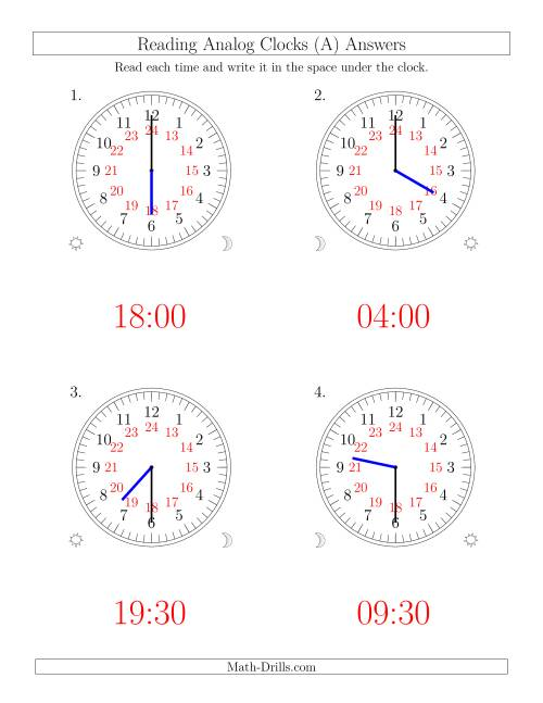 The Reading Time on 24 Hour Analog Clocks in Half Hour Intervals (Large Clocks) (Old) Math Worksheet Page 2