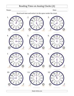 time and clock worksheets reading  hour time in one hour intervals  clocks
