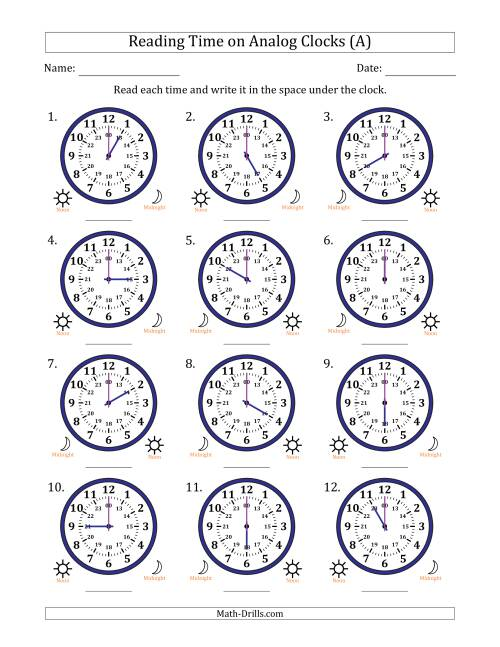 The Reading Time on 24 Hour Analog Clocks in Hour Intervals (A) Math Worksheet