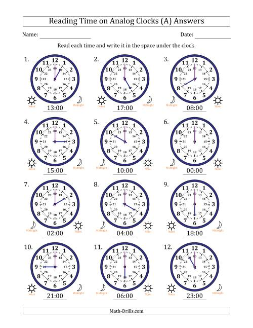 The Reading Time on 24 Hour Analog Clocks in Hour Intervals (A) Math Worksheet Page 2
