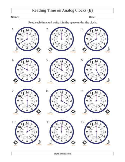 The Reading Time on 24 Hour Analog Clocks in Hour Intervals (B) Math Worksheet