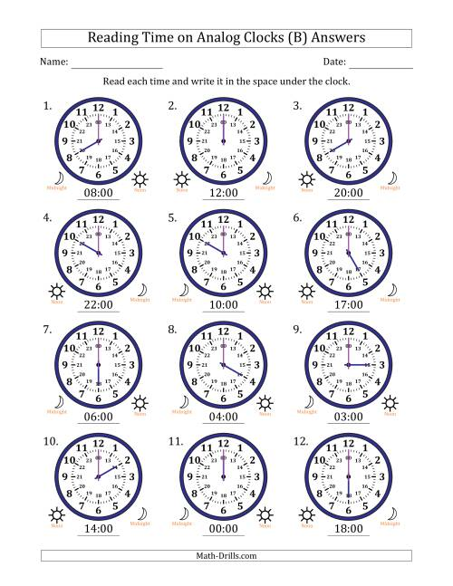The Reading Time on 24 Hour Analog Clocks in Hour Intervals (B) Math Worksheet Page 2
