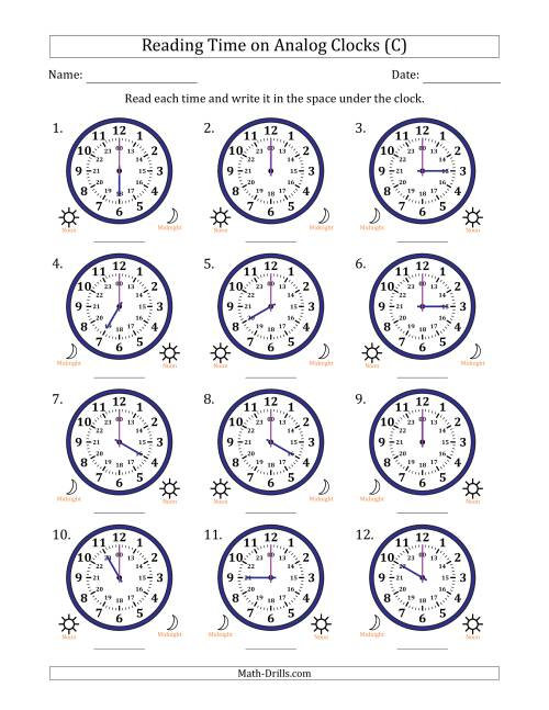The Reading Time on 24 Hour Analog Clocks in Hour Intervals (C) Math Worksheet