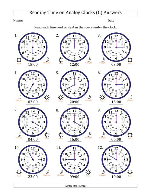 The Reading Time on 24 Hour Analog Clocks in Hour Intervals (C) Math Worksheet Page 2