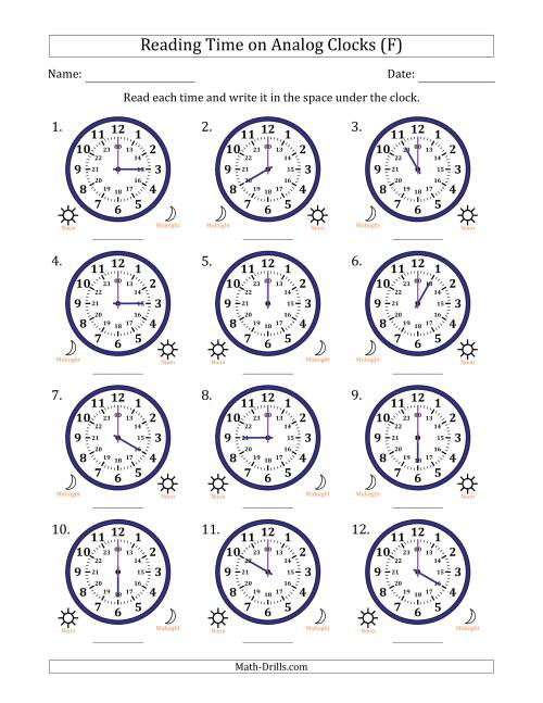 The Reading Time on 24 Hour Analog Clocks in Hour Intervals (F) Math Worksheet