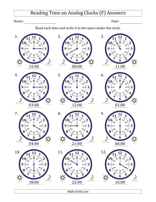 The Reading Time on 24 Hour Analog Clocks in Hour Intervals (F) Math Worksheet Page 2