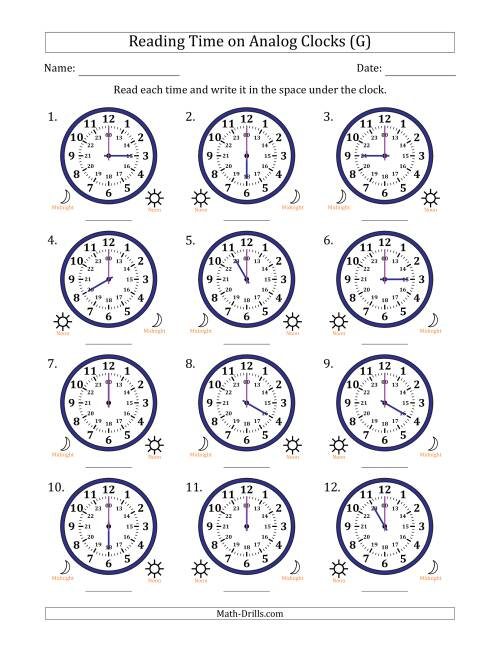 The Reading Time on 24 Hour Analog Clocks in Hour Intervals (G) Math Worksheet