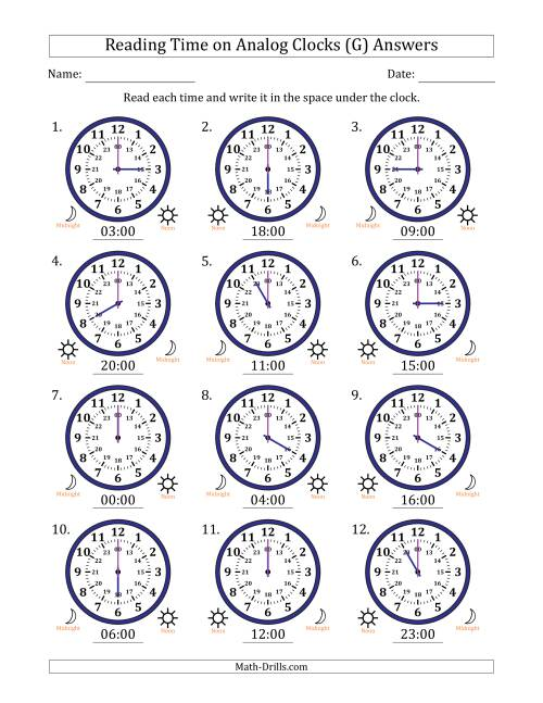 The Reading Time on 24 Hour Analog Clocks in Hour Intervals (G) Math Worksheet Page 2
