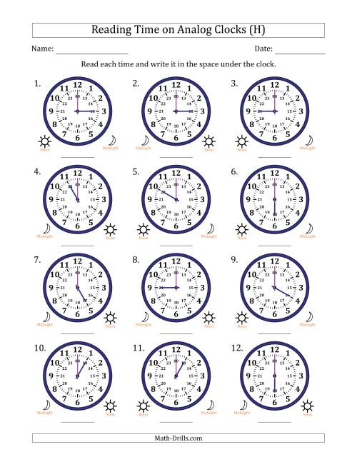 The Reading Time on 24 Hour Analog Clocks in Hour Intervals (H) Math Worksheet