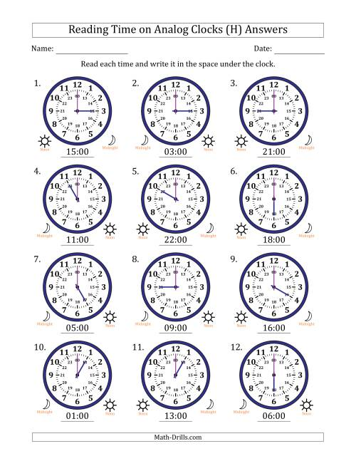 The Reading Time on 24 Hour Analog Clocks in Hour Intervals (H) Math Worksheet Page 2