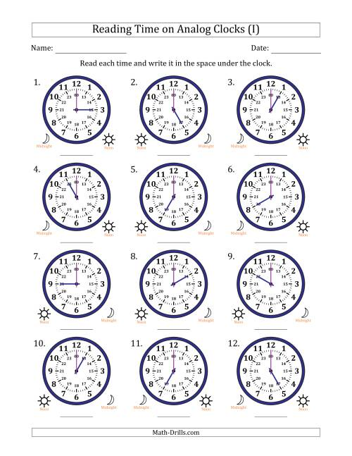 The Reading Time on 24 Hour Analog Clocks in Hour Intervals (I) Math Worksheet