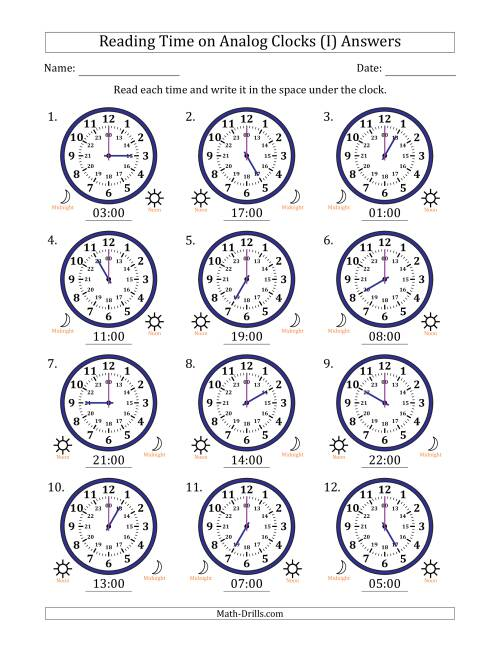The Reading Time on 24 Hour Analog Clocks in Hour Intervals (I) Math Worksheet Page 2