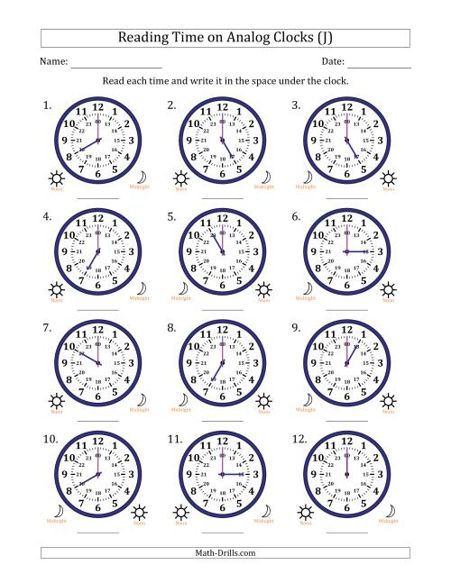 The Reading Time on 24 Hour Analog Clocks in Hour Intervals (J) Math Worksheet