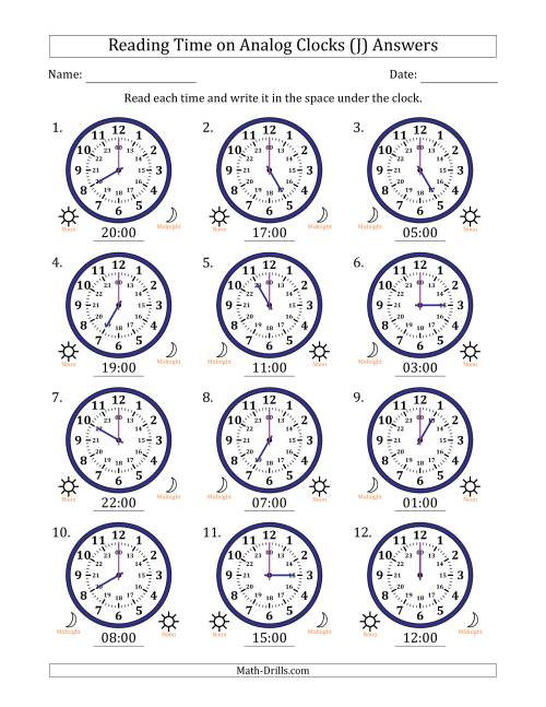 The Reading Time on 24 Hour Analog Clocks in Hour Intervals (J) Math Worksheet Page 2