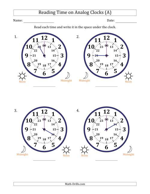 The Reading 24 Hour Time on Analog Clocks in One Hour Intervals (4 Large Clocks) (A) Math Worksheet