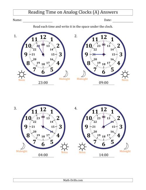 The Reading 24 Hour Time on Analog Clocks in One Hour Intervals (4 Large Clocks) (A) Math Worksheet Page 2