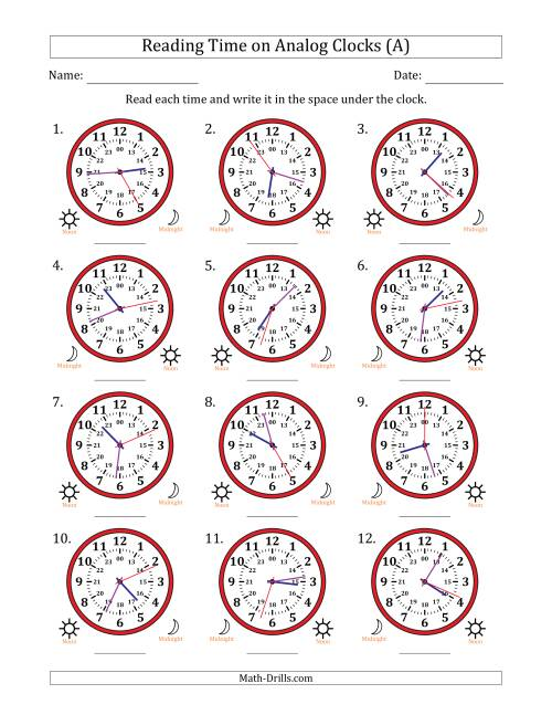 The Reading 24 Hour Time on Analog Clocks in 1 Second Intervals (12 Clocks) (A) Math Worksheet