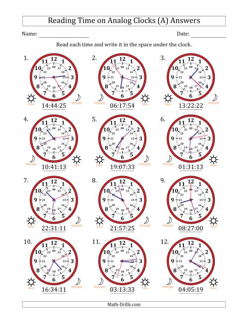 The Reading 24 Hour Time on Analog Clocks in 1 Second Intervals (12 Clocks) (A) Math Worksheet Page 2