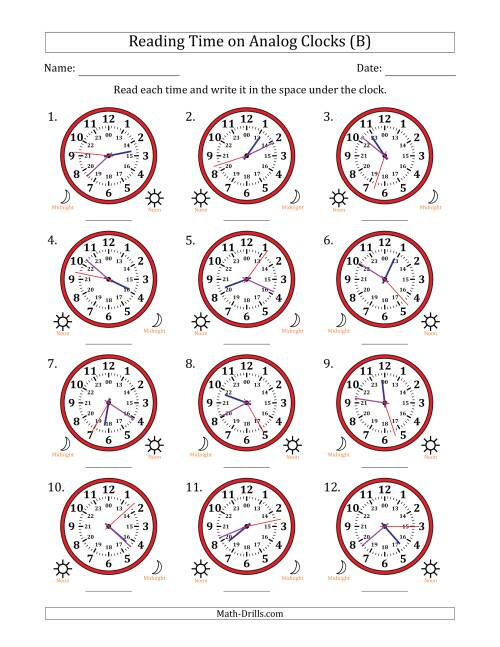 The Reading Time on 24 Hour Analog Clocks to the Second (B) Math Worksheet