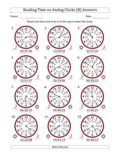 The Reading Time on 24 Hour Analog Clocks to the Second (B) Math Worksheet Page 2