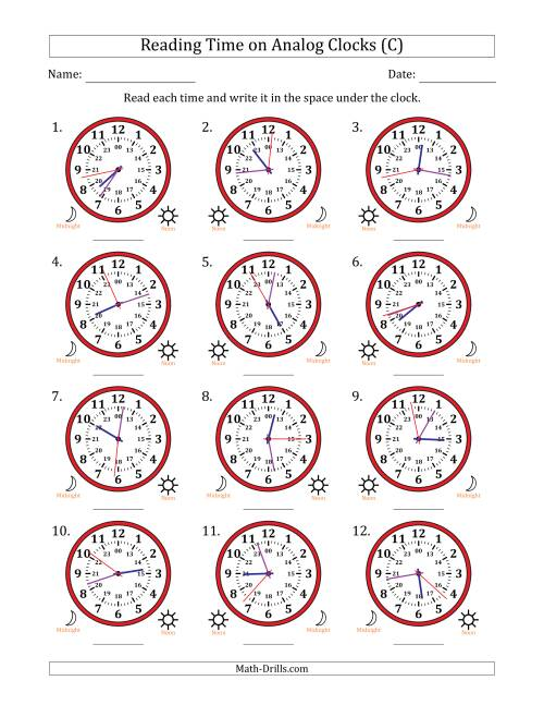 The Reading Time on 24 Hour Analog Clocks to the Second (C) Math Worksheet
