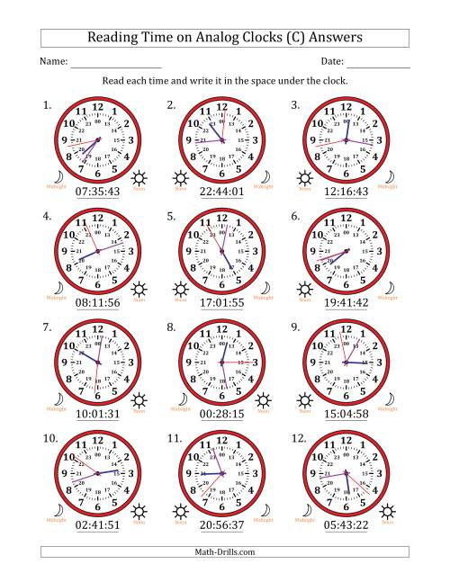 The Reading Time on 24 Hour Analog Clocks to the Second (C) Math Worksheet Page 2