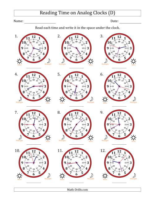 The Reading Time on 24 Hour Analog Clocks to the Second (D) Math Worksheet