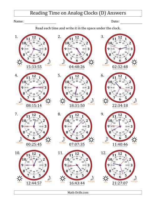 The Reading Time on 24 Hour Analog Clocks to the Second (D) Math Worksheet Page 2