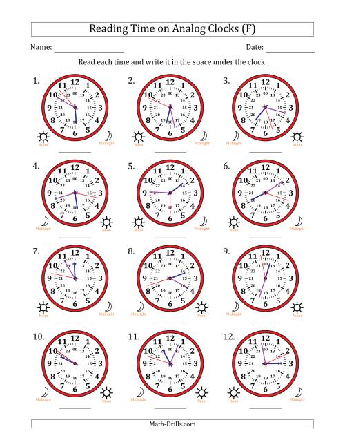 The Reading Time on 24 Hour Analog Clocks to the Second (F) Math Worksheet