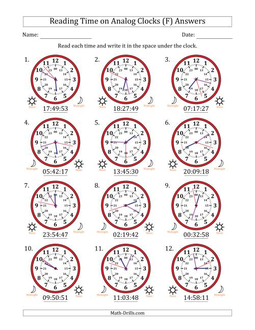 The Reading Time on 24 Hour Analog Clocks to the Second (F) Math Worksheet Page 2