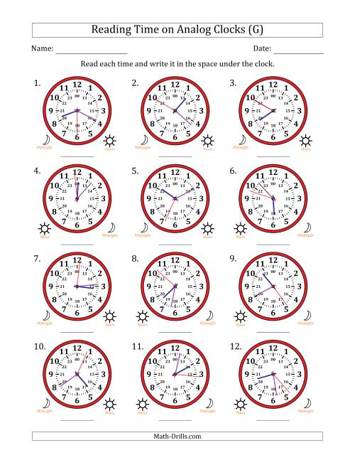 The Reading Time on 24 Hour Analog Clocks to the Second (G) Math Worksheet