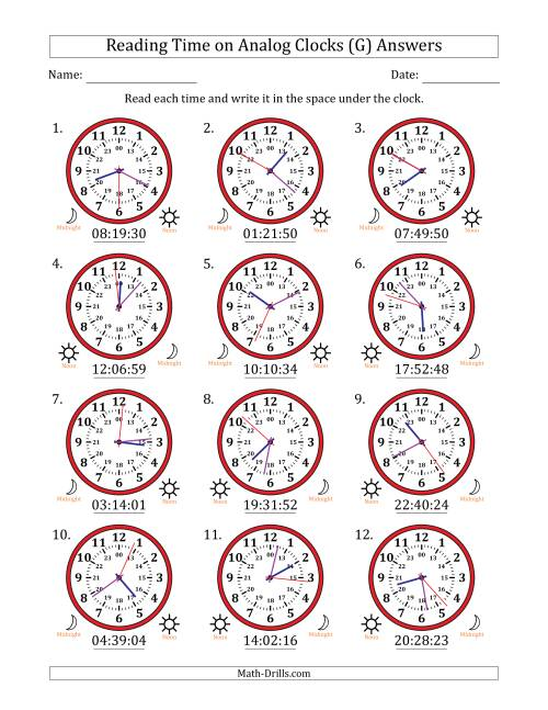 The Reading Time on 24 Hour Analog Clocks to the Second (G) Math Worksheet Page 2