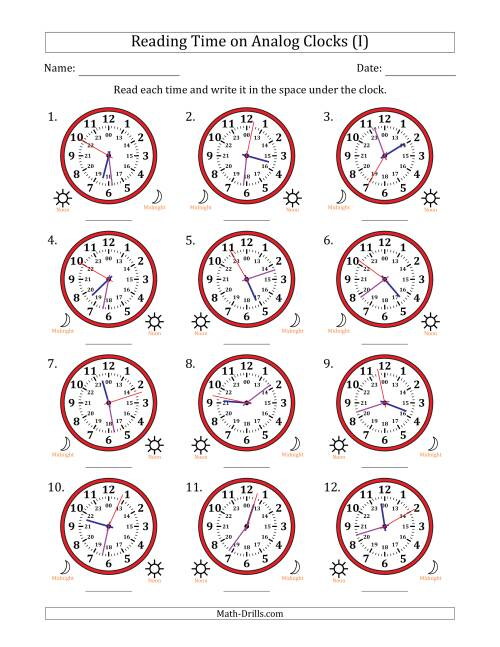 The Reading Time on 24 Hour Analog Clocks to the Second (I) Math Worksheet