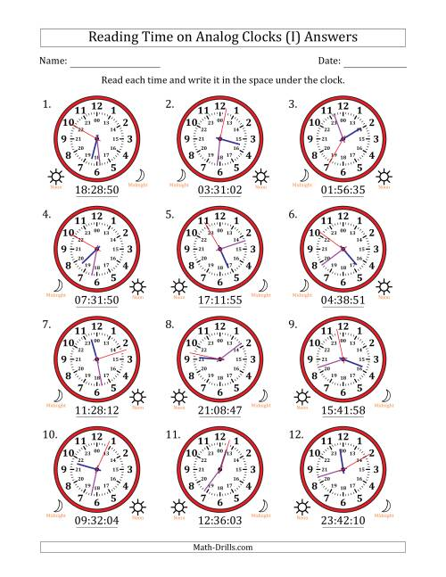 The Reading Time on 24 Hour Analog Clocks to the Second (I) Math Worksheet Page 2