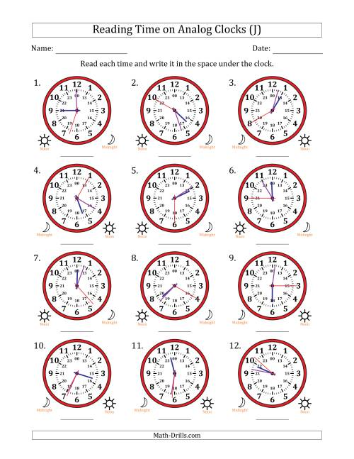 The Reading 24 Hour Time on Analog Clocks in 1 Second Intervals (12 Clocks) (J) Math Worksheet