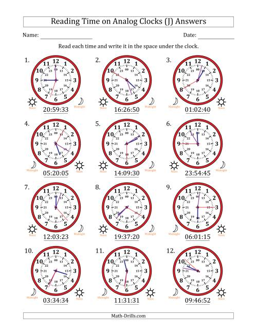 The Reading 24 Hour Time on Analog Clocks in 1 Second Intervals (12 Clocks) (J) Math Worksheet Page 2