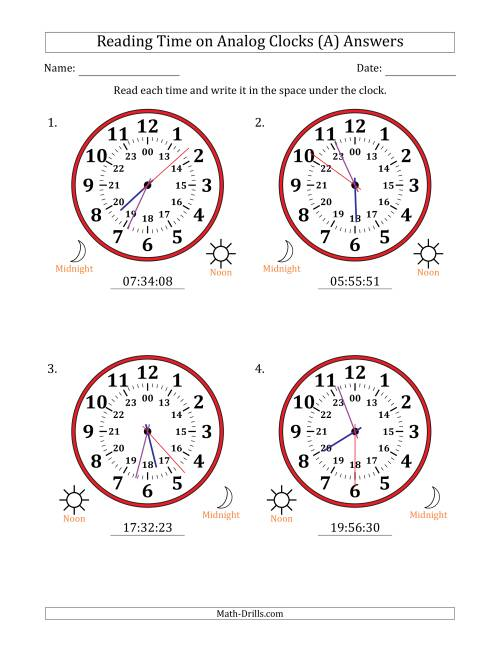 The Reading Time on 24 Hour Analog Clocks in 1 Second Intervals (Large Clocks) (A) Math Worksheet Page 2