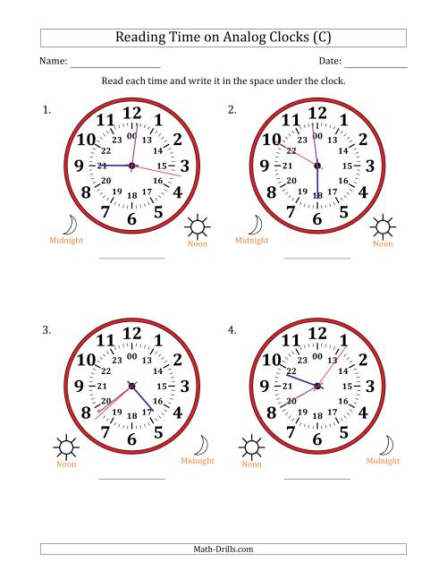The Reading 24 Hour Time on Analog Clocks in 1 Second Intervals (4 Large Clocks) (C) Math Worksheet