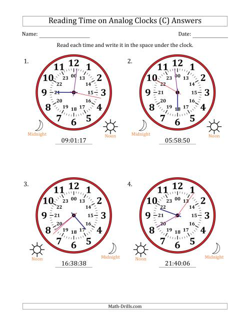 The Reading Time on 24 Hour Analog Clocks in 1 Second Intervals (Large Clocks) (C) Math Worksheet Page 2