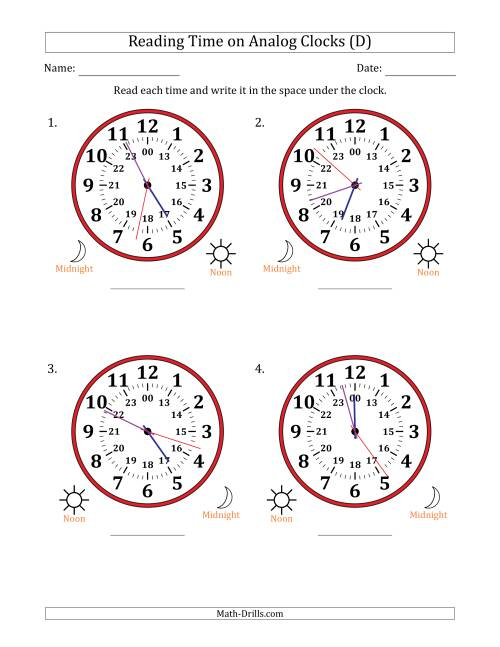 The Reading Time on 24 Hour Analog Clocks in 1 Second Intervals (Large Clocks) (D) Math Worksheet