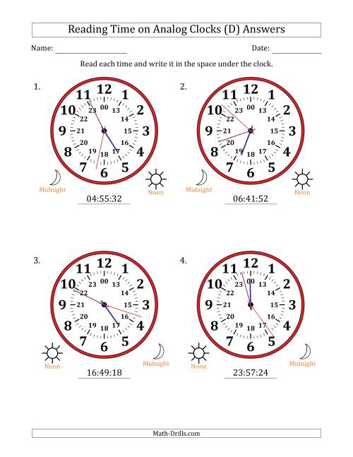 The Reading Time on 24 Hour Analog Clocks in 1 Second Intervals (Large Clocks) (D) Math Worksheet Page 2
