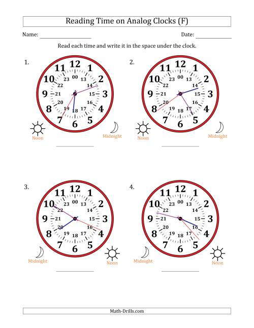 The Reading Time on 24 Hour Analog Clocks in 1 Second Intervals (Large Clocks) (F) Math Worksheet