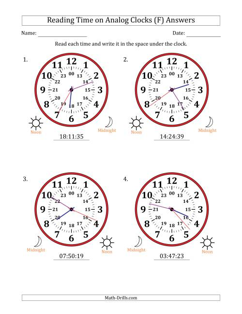 The Reading Time on 24 Hour Analog Clocks in 1 Second Intervals (Large Clocks) (F) Math Worksheet Page 2