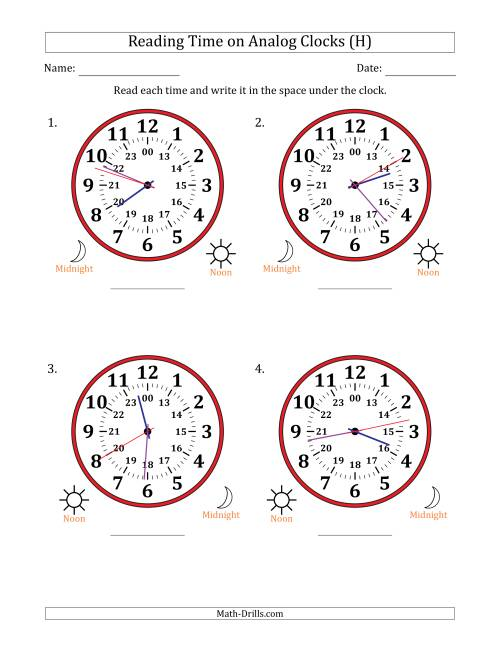 The Reading Time on 24 Hour Analog Clocks in 1 Second Intervals (Large Clocks) (H) Math Worksheet